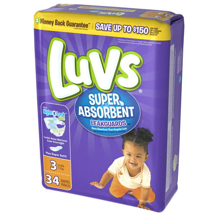 Luvs Super Absorbent Leakguards Newborn Diapers Size 3 34 count