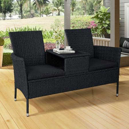 Outdoor Wicker Furniture Set, Backyard Patio Wicker Conversation Furniture Set Loveseat w/ Coffee Table, Cushions,Y00196 ()