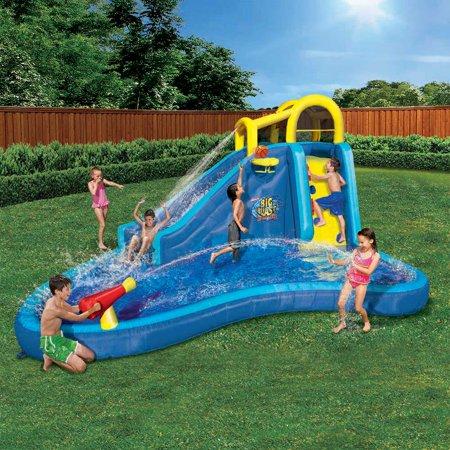 Banzai Inflatable Big Blast Splash Slide Lagoon Pool Outdoor Water Park (2 Pack)