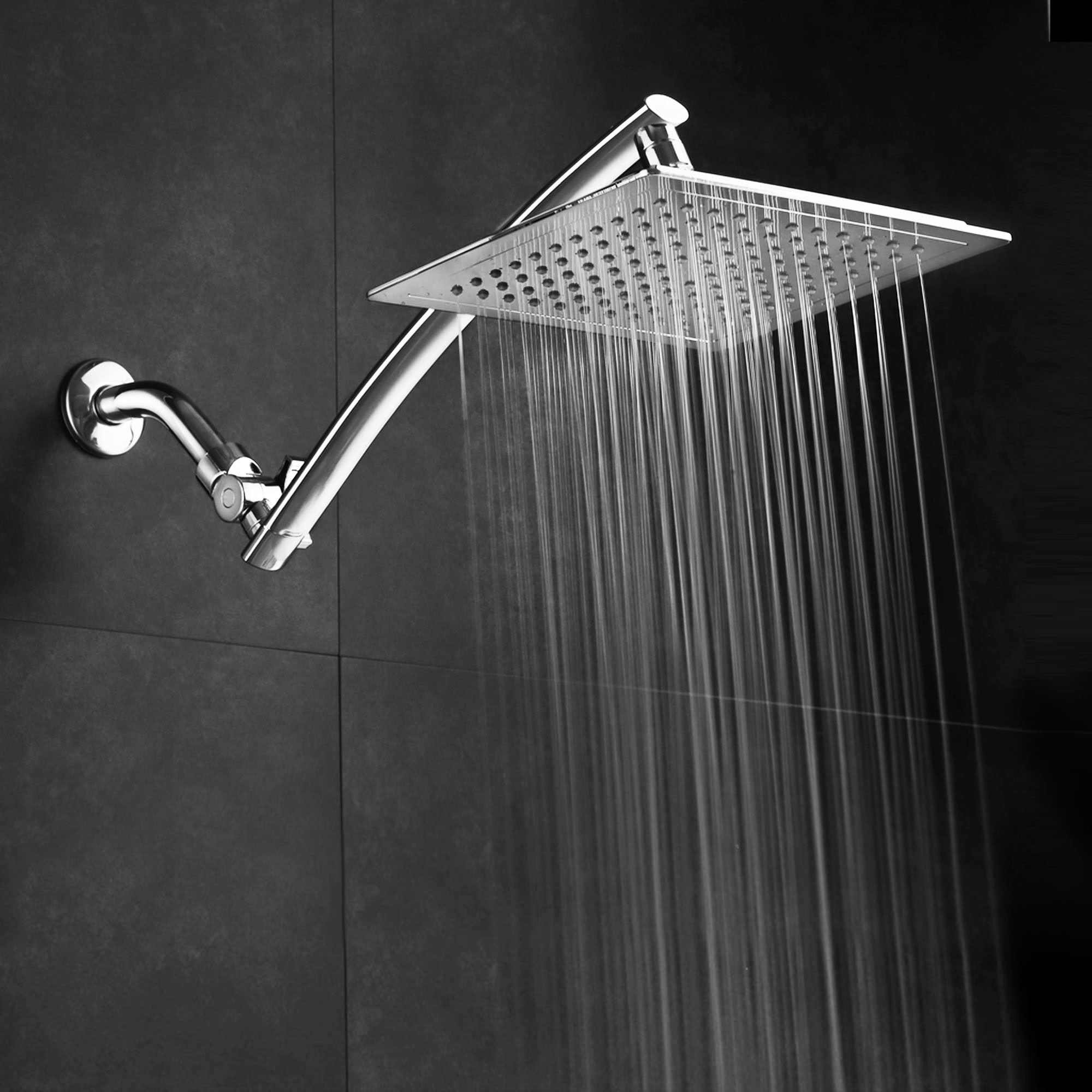 Razor™ by AquaSpa® Mega Size 9-inch Chrome Face Square Rainfall Shower Head with Arch Design 15-inch Stainless Steel Extension Arm / Premium Chrome