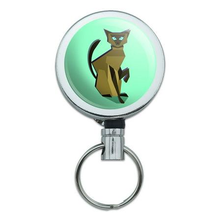 Ring Holder Siamese Cat (Geometric Cat Siamese Dark Retractable Belt Clip Badge Key Holder)