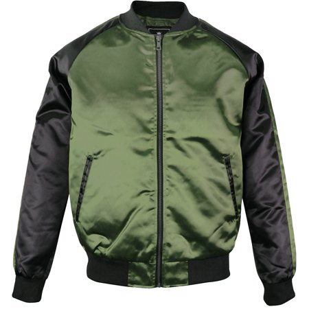 Fur Collar Bomber - Upscale Men's Contrast Two-Tone Satin Polyester Zip Up Baseball Collar Bomber Flight Jacket Coat Olive/Black XX-Large