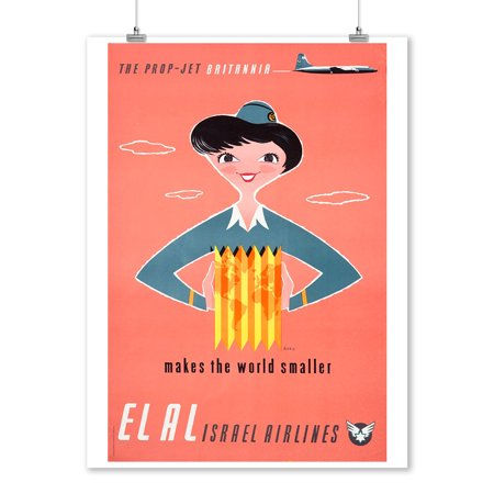 El Al Israel Airlines - (artist: Kor c. 1957) - Vintage Advertisement (9x12 Art Print, Wall Decor Travel Poster)