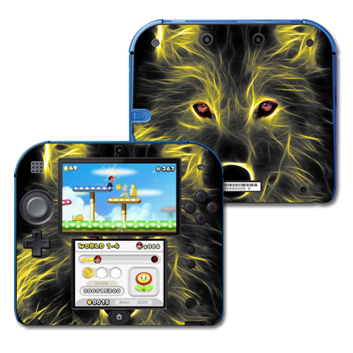 Skin Decal Wrap for Nintendo 2DS sticker Neon Wolf