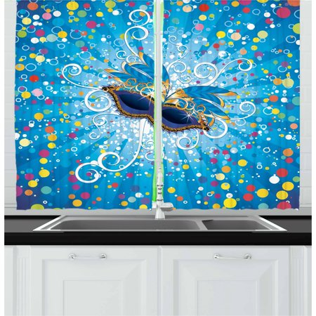 Mardi Gras Curtains 2 Panels Set, Blue Backdrop with Colorful Dots Spots and Carnival Mask with Stylized Swirls, Window Drapes for Living Room Bedroom, 55W X 39L Inches, Multicolor, by Ambesonne