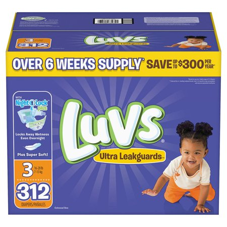 Fastest Overnight Shipping (Luvs Ultra Leakguards Diapers Size Size 3 - 312 ct. - Bulk Qty, Free Shipping - Comfortable, Soft, No leaking & Good nite)
