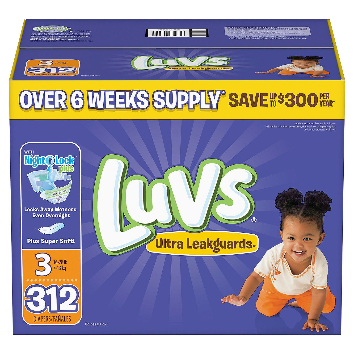 Luvs Ultra Leakguards Diapers Size Size 3 - 312 ct. - Bulk Qty, Free Shipping - Comfortable, Soft, No leaking & Good nite Diapers