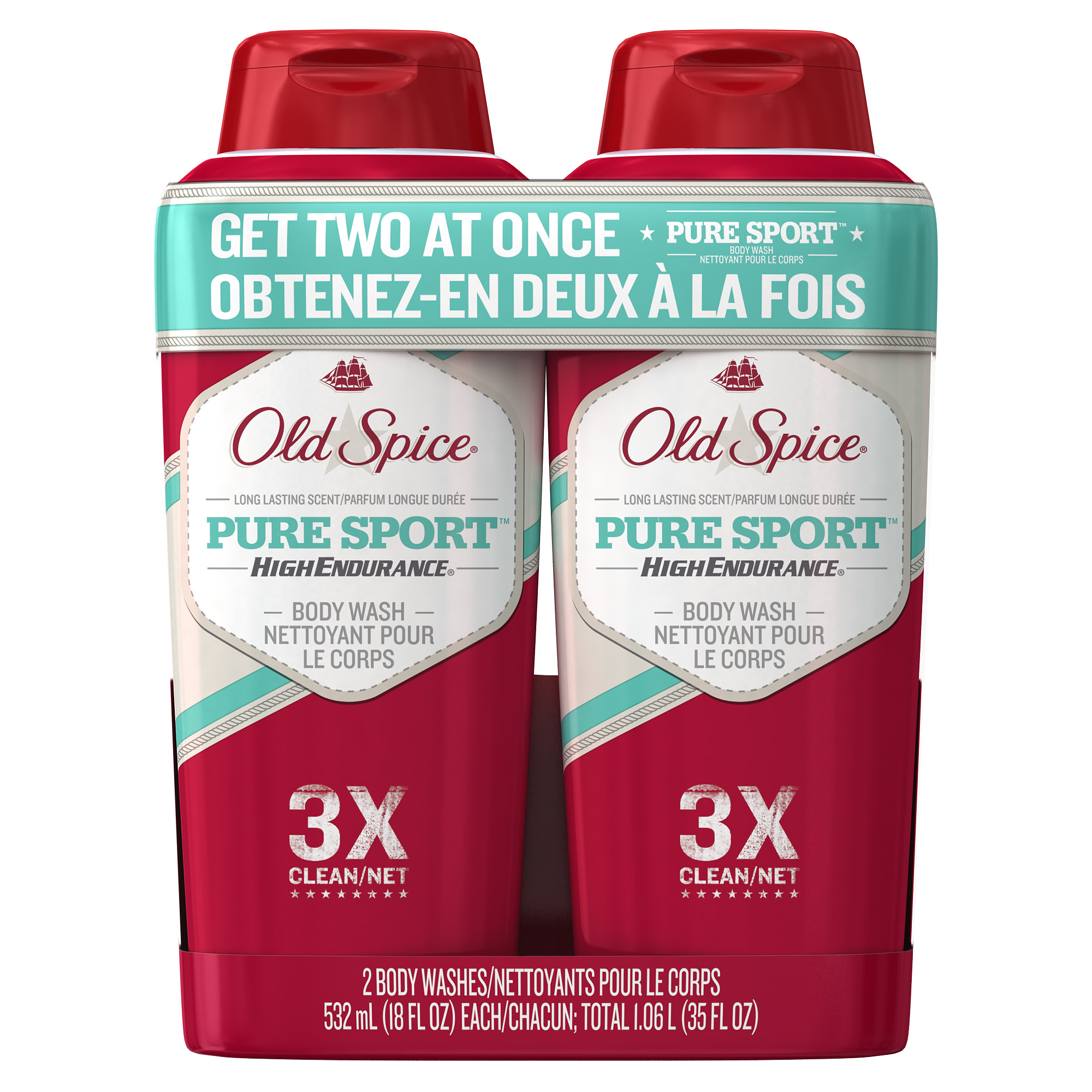 (2 pack) Old Spice High Endurance Pure Sport Body Wash 2X18 oz
