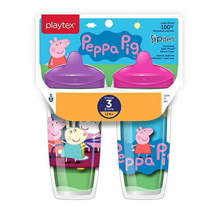 Playtex Sipsters Stage 3 Peppa Pig Insulated Sippy Cup, 9 Oz, 2 Pk (Playtex Straw Bottle)