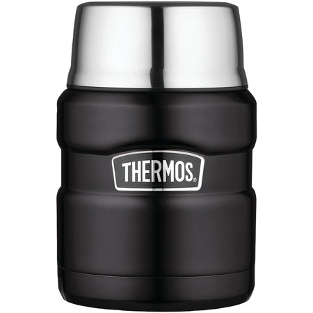 Thermos SK3000BKTRI4 Stainless King Vacuum-insulated Food Jar With Folding Spoon, 16oz (matte Black)
