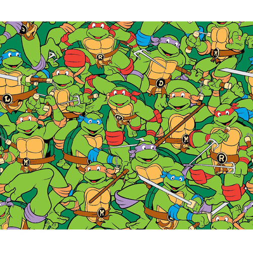 """TMNT Heroes in a Half Shell Packed, Flannel, Green, 42/43"""" Wide, Fabric by the Yard"""