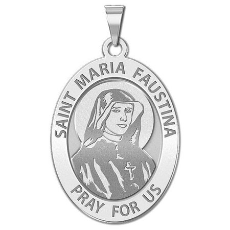 Saint Faustina Religious Medal - 1/2 Inch X 2/3 Inch - Sterling (Religious Medal)