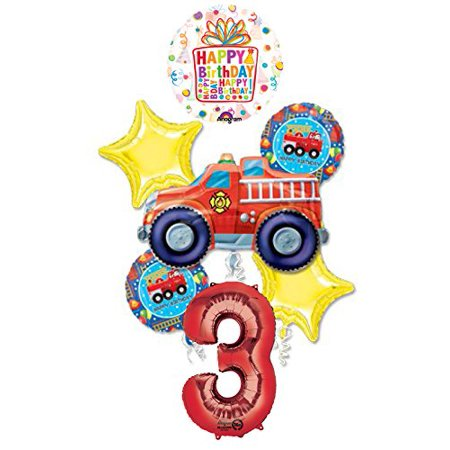 Fire Truck Fire Engine 3rd Birthday Party Supplies and Balloon - Fire Party Supplies