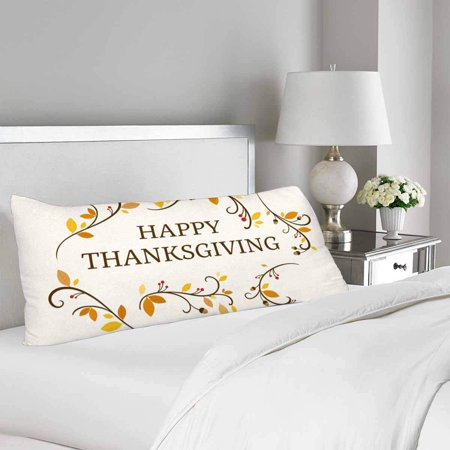 GCKG Happy Thanksgiving Fall Autumnal Leaves Branches Body Pillow Covers Case Protector 20x60 inches - image 1 of 2
