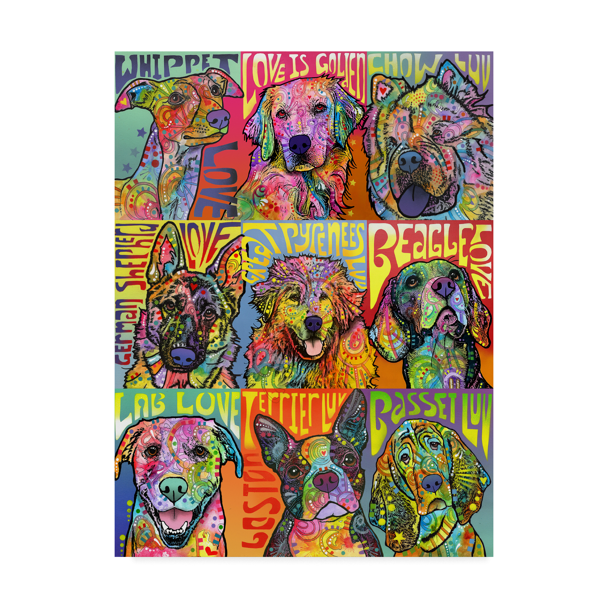 Trademark Fine Art 'Nine Up of Dogs' Canvas Art by Dean Russo