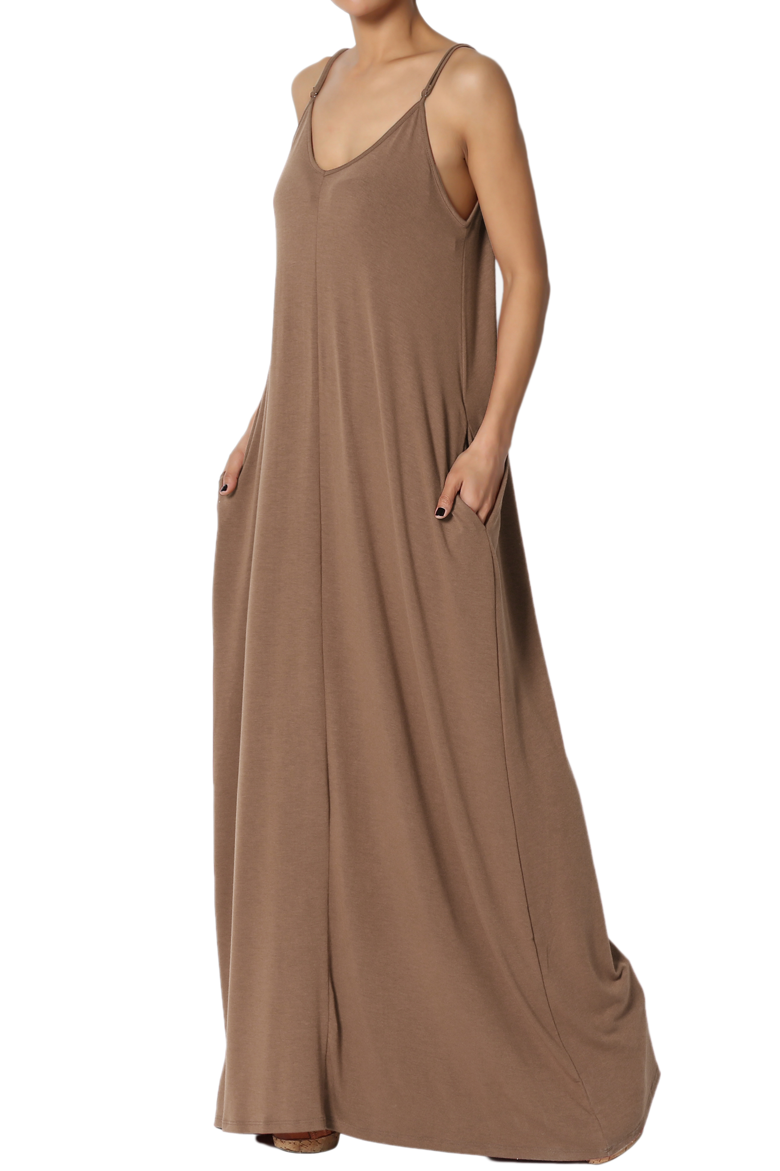 TheMogan Women's V-Neck Draped Jersey Casual Beach Cami Long Maxi Dress W Pocket