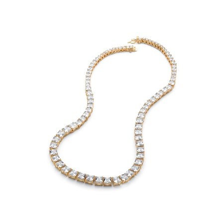 44.13 TCW Princess-Cut Graduated Cubic Zirconia Tennis Necklace 14k Yellow Gold-Plated
