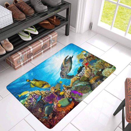 POP Colorful Coral Reef with Many Fishes and Sea Turtle Indoor Entrance Doormat 30x18 Inches - image 2 of 3