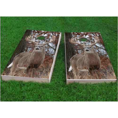 Custom Cornhole Boards White Tail Deer Buck Cornhole Game (Set of 2) by Custom Cornhole Boards