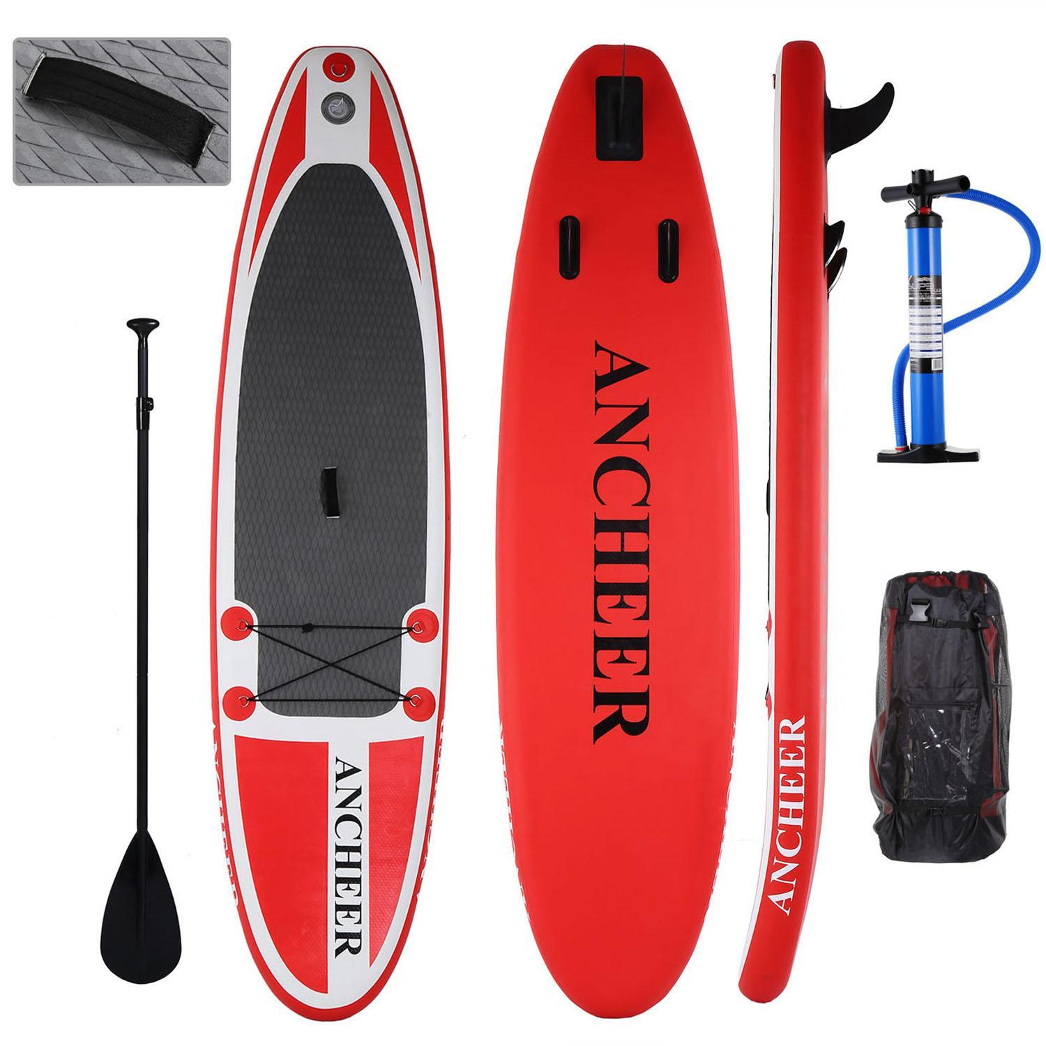 "Clearance 10'(6""Thick) Inflatable Stand Up Paddle Board ISUP with Adjustable Paddle Backpack Package Hand Pump btc... by"