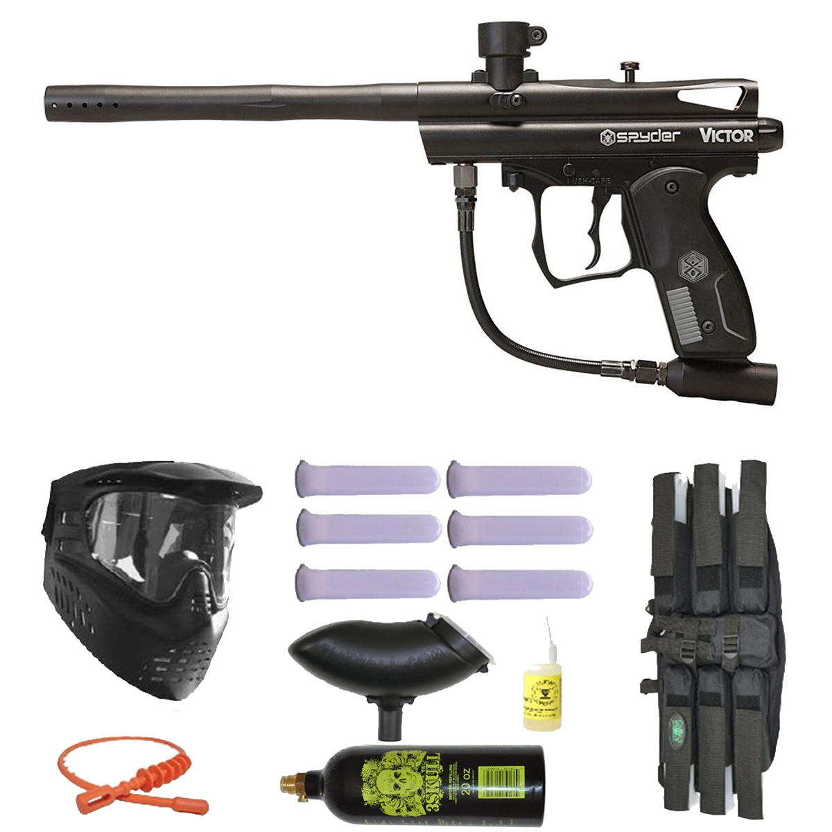 Spyder Victor Paintball Marker Gun 3Skull Mega Set Black by