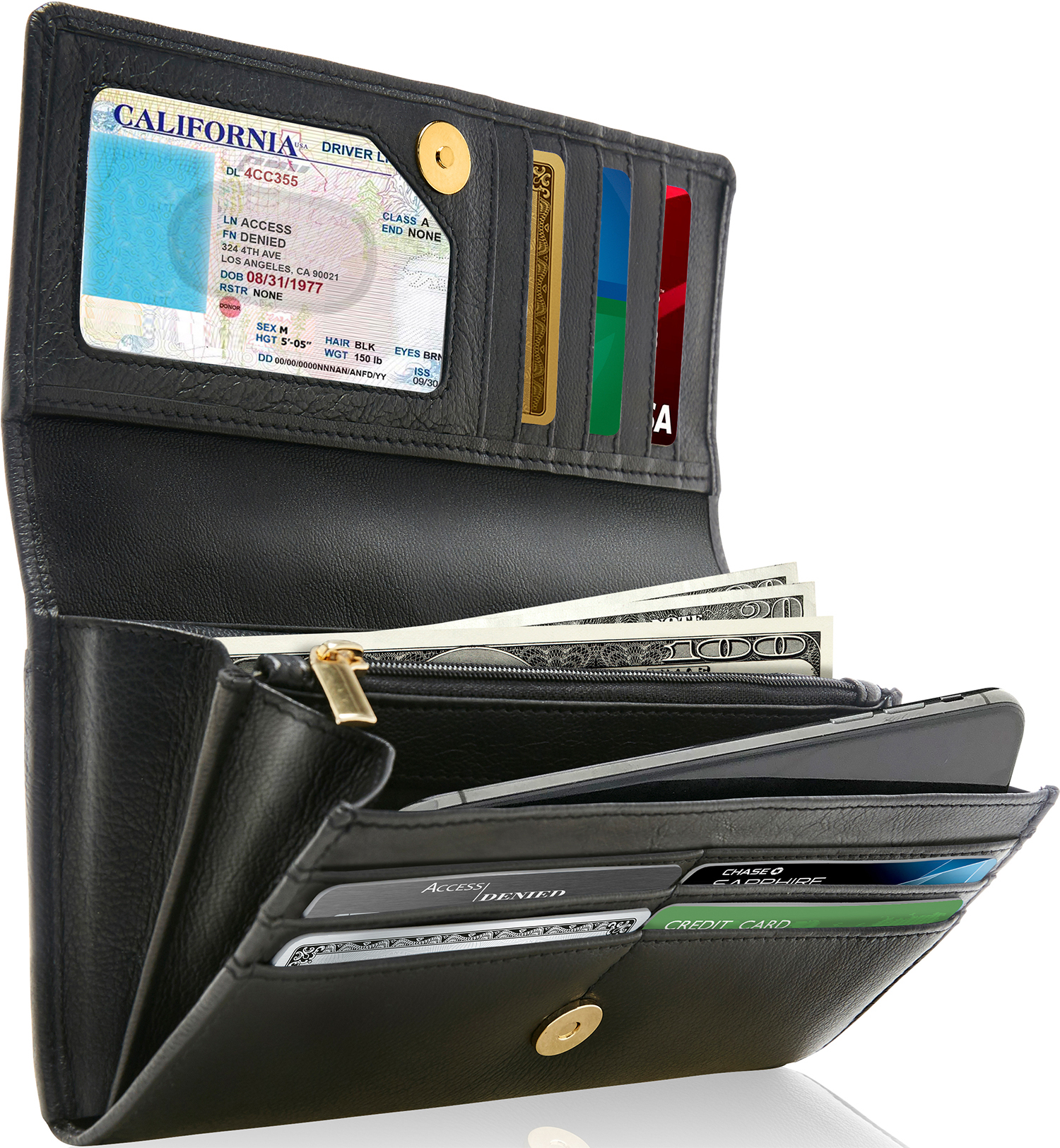 Brown RFID Blocking Leather Checkbook Cover Clutch ID Credit Card Long Wallet