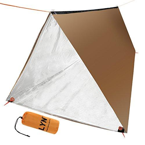 Click here to buy Thermal Survival Shelter Tent Paracord 550 (Military Grade) 2 Person Tarp Tent by BBS.