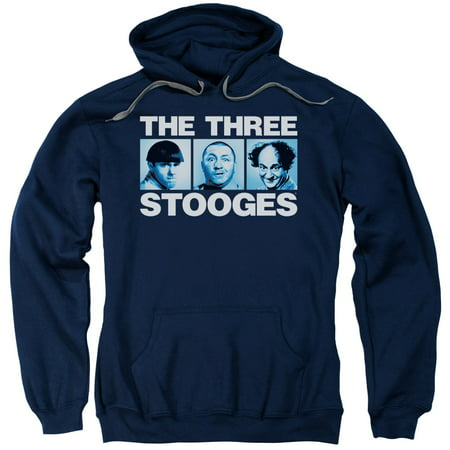 Three Stooges/Three Squares Adult Pull Over Hoodie Navy  Tts202