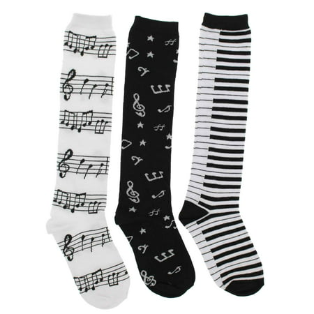 Women's Black White Music Notes, Piano Keys, Instruments Knee High Socks,
