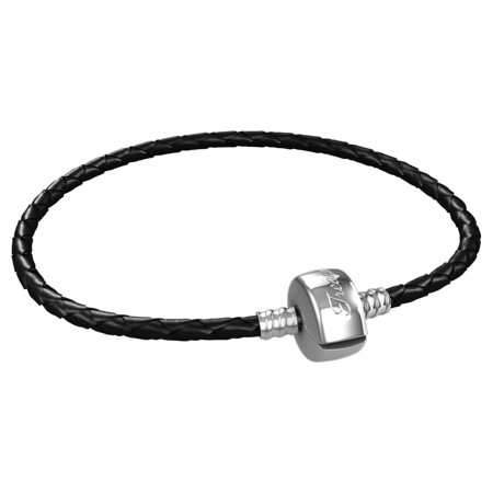 29fb74b75 Timeline Treasures - Charm Bracelet For Men, Braided Black Leather, Fits Pandora  Charms, Steel Barrel Snap Clasp, 8 Inch (20 cm) - Walmart.com