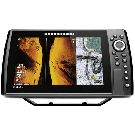 Humminbird 410860-1 HELIX 9 CHIRP Sonar G3N Dual Spectrum Combo Fishfinder/GPS/Chartplotter with MEGA Down & Side Imaging + & 9