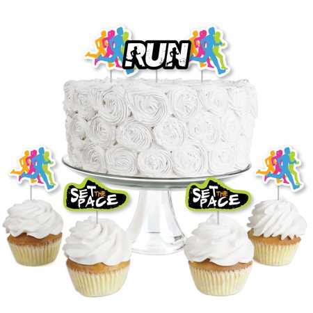 Set The Pace - Running - Dessert Cupcake Toppers -Track, Cross Country or Marathon Party Birthday Party Clear Treat Pick