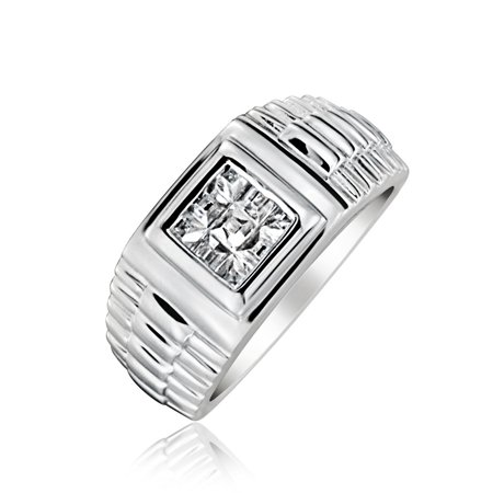 .925 Silver Invisible Cut CZ Watch Band Style Mens Engagement Ring