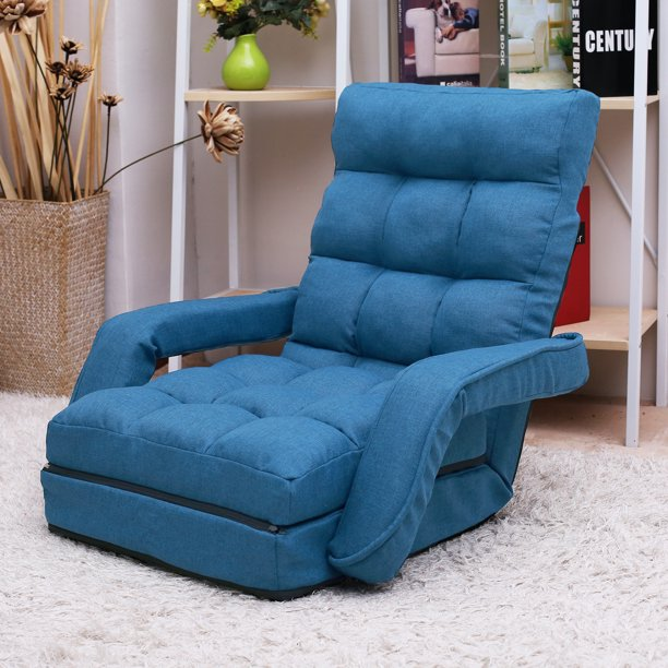 Folding Lazy Sofa Floor Chair, Lounger Bed Floor Chair Sofa with Armrests and Pillow, 5-Position Adjustable, Sofa Bed for Small Space, Floor Chair for Gaming, Sleeper and Reading, Blue, W7096