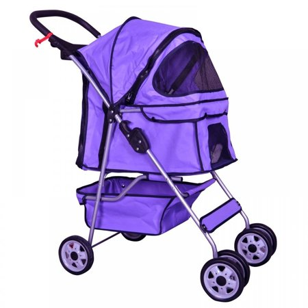 Purple 4 Wheels Pet Stroller Cat Dog Cage Stroller Travel Folding Carrier