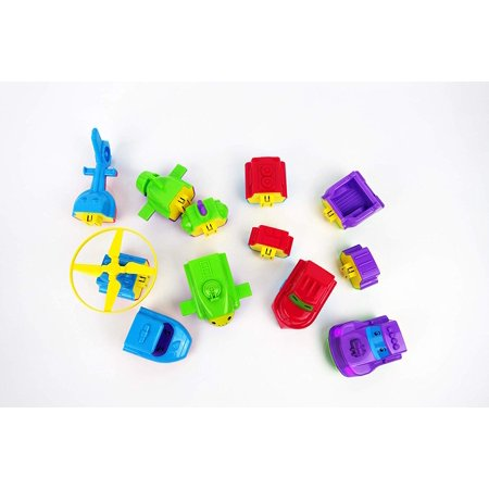 NBD Magnetic Colorful Mix and Match Vehicles with Lights and Music, Firetruck, Submarine, Helicopter and Truck