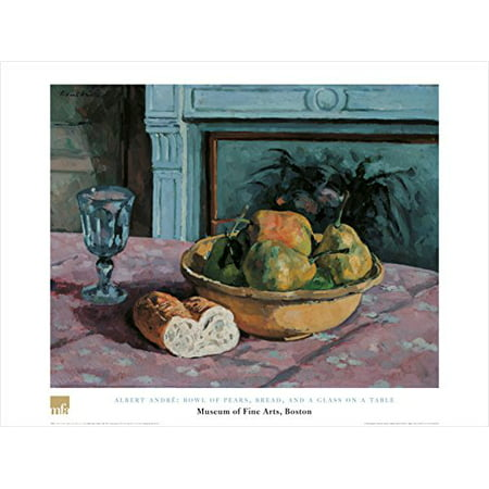 Bowl Of Pears Bread And A Glass On A Table By Albert Andre 24X32 Art Print Poster Famous Painting Still Life Fruit Bowl Bread Wine Glass