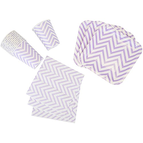 Just Artifacts Disposable Party Tableware 44pcs Chevron Pattern Dining Set (Square Plates, Cups, Napkins) - Color: Purple - Decorative Tableware for Parties, Baby Showers, and Life Celebrations!