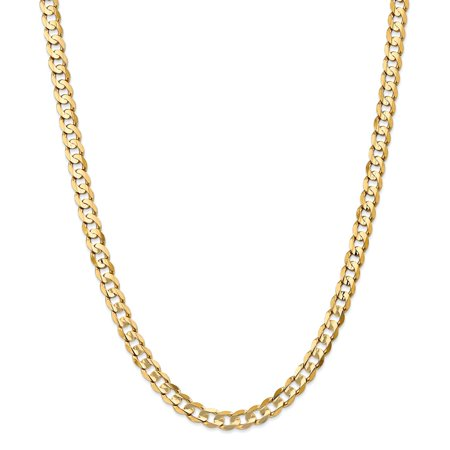 """14K Yellow Gold 6.75mm Open Concave Curb Necklace Chain -22"""" (22in x 6.75mm)"""