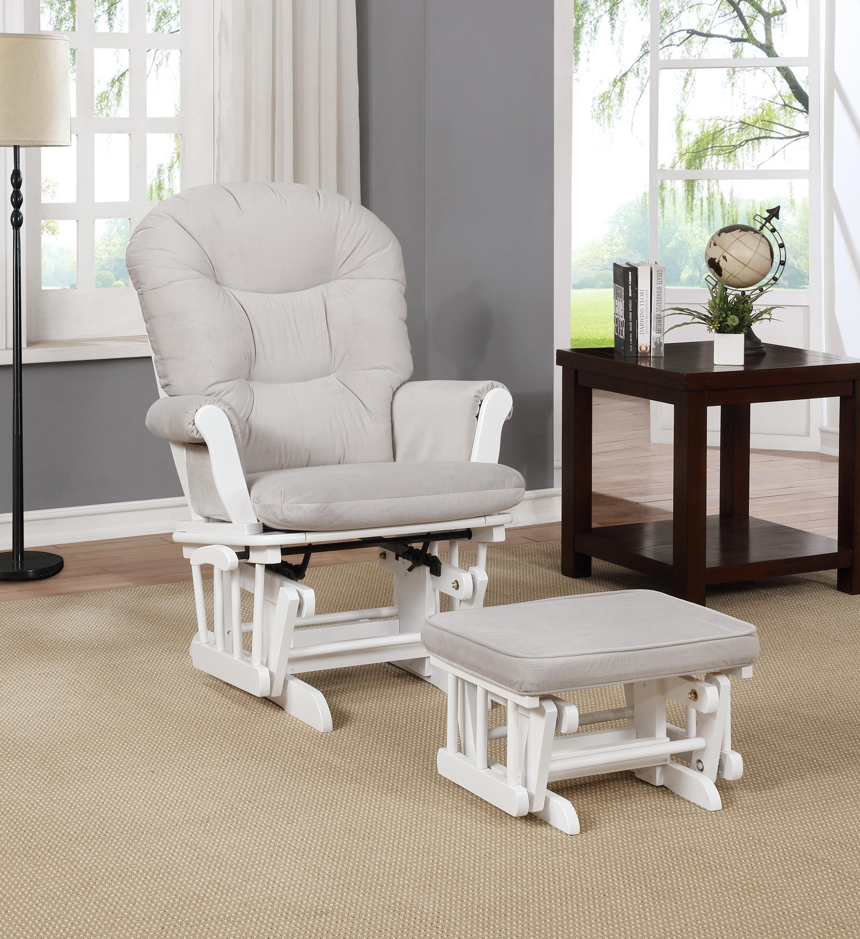Mira Multiposition Glider and Ottoman Set -Cushion Color:Gray,Finish:White