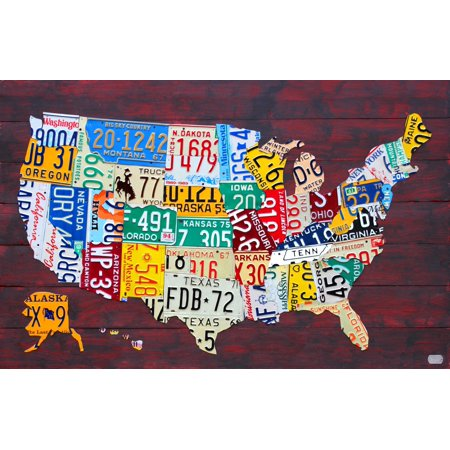 License Plate Map of the United States Canvas Art - Design Turnpike ...