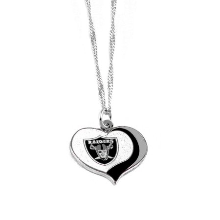 NFL Gitter Heart Necklace (Oakland - Raiders Necklace