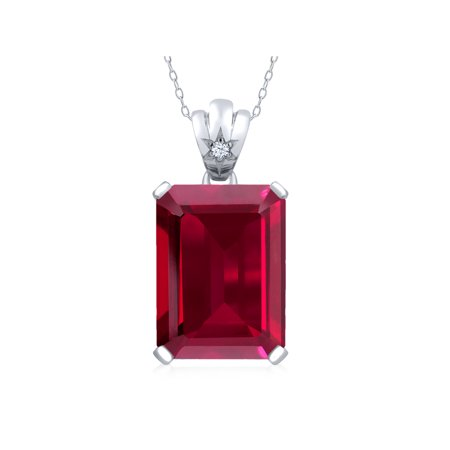 1.05 Ct Emerald Cut Red Created Ruby 925 Sterling Silver Pendant