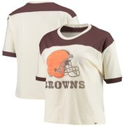 Cleveland Browns '47 Women's Billie Cropped T-Shirt - Cream/Brown