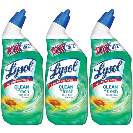 - Lysol Clean & Fresh Toilet Bowl Cleaner, Country Scent, 72oz (3X24oz)