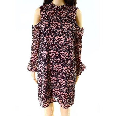 Wayf Wayf New Black Pink Floral Lace Off Shoulder Women Large L Shift Dress Walmartcom