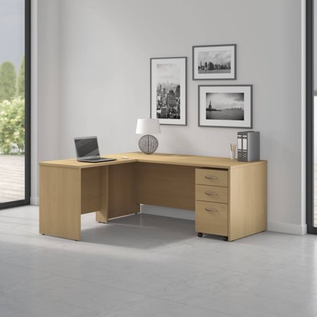 Pro Office L Shaped Desk With 3 Drawer Mobile Pedestal In Light Oak