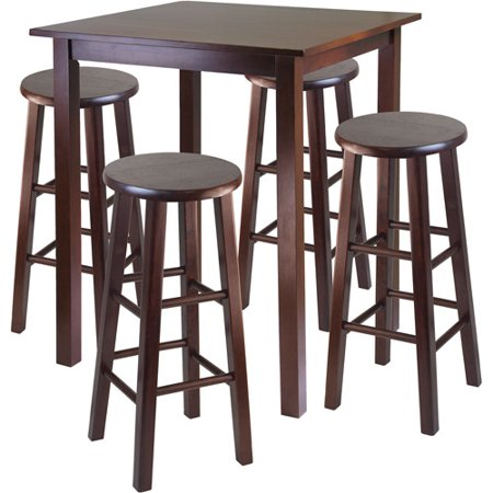 5-Piece Parkland High Dining Set with Essential Stools, Multiple Finishes ()