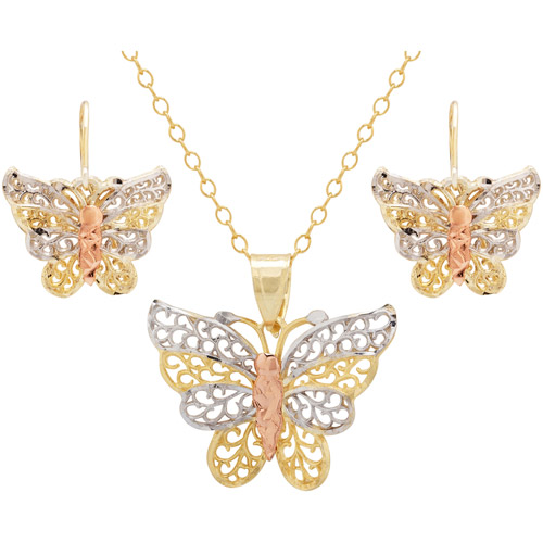 18kt Gold over Sterling Silver Butterfly Pendant and Earrings Set