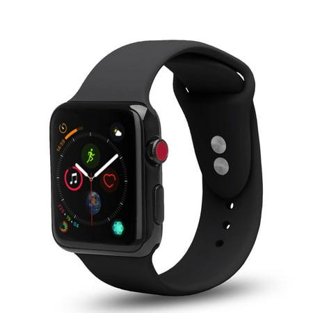 3 Pack Bundle Apple Watch 38/40mm Soft Silicone Sport Strap Loop Band Series 4 3 2 1 Nike+ (Black, Blue, Red) - image 3 de 4